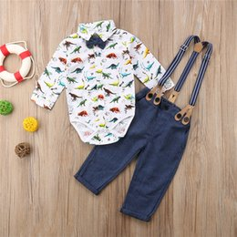 $enCountryForm.capitalKeyWord NZ - Cute Newborn Baby Boys Dinosaur Romper Navy Overalls Outfits Bow Ties Infant Baby Boy Clothing Bodysuit Jumpsuit Children Outfits Clothes