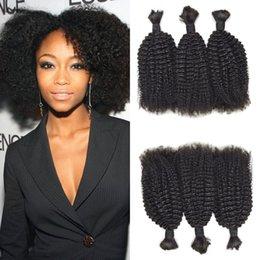 Brazilian afro Braid online shopping - Peruvian Afro Kinky Curly Bulk Human Hair For Braiding Natural Color Bundles Hair Bulk Non Processed G EASY