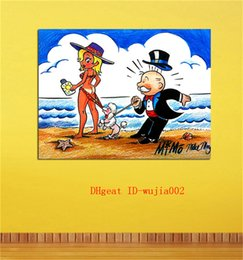 oil art nude man Australia - Monopoly Man At The Beach , Canvas Painting Living Room Home Decor Modern Mural Art Oil Painting