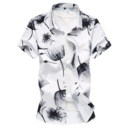 $enCountryForm.capitalKeyWord UK - 2018 Summer Men's Shirt New Fashion Chinese Style Ink Print Short Sleeve Shirt Mens Clothes Trend Casual Flower Shirts Mens 7XL M3-096