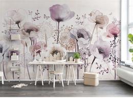 PurPle wallPaPer for bedroom walls online shopping - 3D Abstract Purple Flower Butterfly Wallpaper Mural Wall Art Decor Floral Photo Murals Wall Paper papel de parede para quarto
