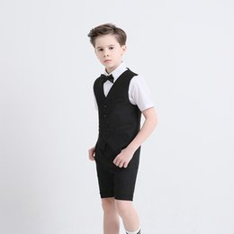 Gray Suit Champagne Tie Australia - 2018 Summer Three Pieces Boys Clothes Peaked Lapel Tie Short Sleeve Knee Length Pants Boys Suits Custom Made Kids Formal Wear For Weddings