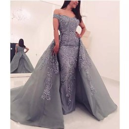 $enCountryForm.capitalKeyWord NZ - Silver Gray Overskirts Prom Dresses 2018 Long Off Shoulder Lace Applique Beaded Mermaid Arabic Dubai Cheap Formal Party Gowns Evening Wear
