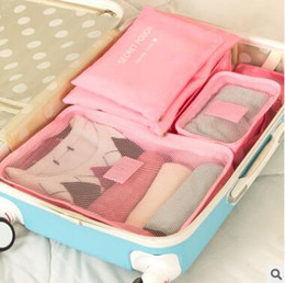 Discount organizer bags wholesale - 6pcs Travel Storage Bags Set Clothes Underwear Bra Packing Tidy Pouch Luggage Organizer Portable Container Waterproof St