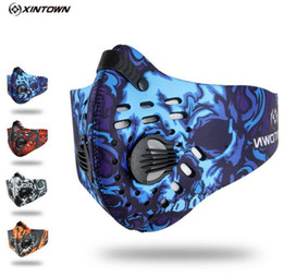 neoprene cycling filter mask 2019 - XINTOWN Men Sports Cycling Breathable Carbon Filters Face Mask Bicycle Dust Smog Protective Half Face Neoprene Mask PM2.
