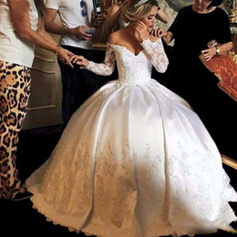 Ball Gown Wedding Dresses Corset Back Canada - Elegant Off Shoulder Wedding Dresses Puffy Ball Gown Vintage Illusion Lace Long Sleeves Ivory Corset Back Bridal For Women Plus Size