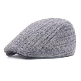 $enCountryForm.capitalKeyWord UK - Vintage Wool Flat Berets Caps for Men Knitted Twist Beret Hat Winter Thick Warm Casual Peaked Visor Caps