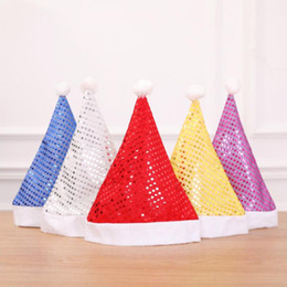 Wholesale 5 Color Fashion Paillette Christmas Hat Birthday Party Personality Cap Christmas Decoration Props Red Gold Silver Blue Purple