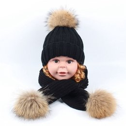 ab5df237624 Children Kids Winter Thick Knitted Hat Scarf Set Raccoon Fur Ball Hat Pom  pom Beanies Baby Boys Girls Warm Fleece Cap Scarf Sets