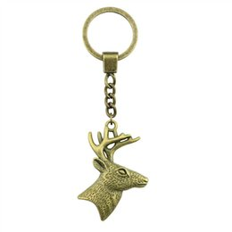 Rings deeR head online shopping - 6 Pieces Key Chain Women Key Rings Couple Keychain For Keys Deer Head With Antlers x43mm