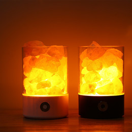 2018 Himalayan Salt Crystal Lamps Himalayan Salt Lamp LED Night Light USB  Rechargeable Air Purifier Crystal