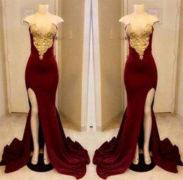 Strapless Sequin Red Dress Australia - Long Dark Red Prom Dresses 2018 Strapless Gold Applique With High Slit Prom Dress Floor Length Formal Pageant Gowns Custom made