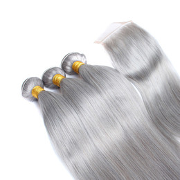 Gray bundles online shopping - Doheroine Pre Colored Human Hair Bundles With Closure Bazilian Straight Human Hair Bundles With Closure B Gray Ombre Color Bundles