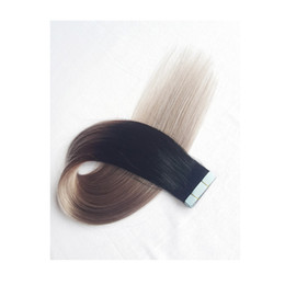 Remi Straight Hair Extension Australia - Tight No Tangle Shedding Remi Human Tape Hair Extension Best Selling european Tape In Human Hair Extensions natural color fading to gray