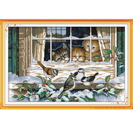 Wholesale The Landscape out of the window Cross Stitch Kits CT Printed Fabric CT Canvas DMC Counted Chinese Cross stitch set Embroidery Needlework