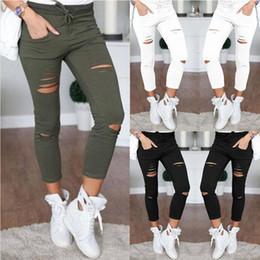 $enCountryForm.capitalKeyWord Australia - Women cheap pants cotton slim fit hole pencil pants sweatpants elastic waist skinny washed trousers wholesale plus size Leggings 4XL