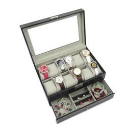 $enCountryForm.capitalKeyWord Canada - Black Brown Professional 12 Grids Slots Watches Storage Box PU Leather Double Layers Watch Case Jewelry Organizer Box Holder