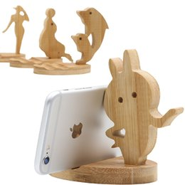 folding tablet stand for iphone UK - Natural Bamboo Mobile Phone Watch Holder Desk Table Stand For Iphone 7P X Bamboo Cell Phone Desktop Tablet Holder LX1083