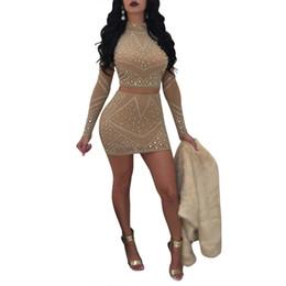 $enCountryForm.capitalKeyWord UK - Womens Sexy Two Pieces Bodycon Outfit Embellished Rhinestone Long Sleeve Crop Top with Mini Dress Clubwear