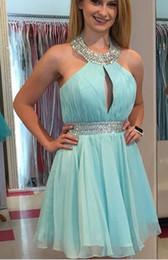 $enCountryForm.capitalKeyWord NZ - Halter Top Homecoming Dresses 2018 Cheap Crystal Beaded Sequins Pleats Ruched Open Back Chiffon Party Dress Short Prom Dress Gowns
