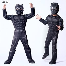 Civil War Costumes Halloween Australia - Ainiel Kids Black Panther Muscle Costume Civil War American Captain Cosplay Superhero Halloween Party Fancy Dress Jumpsuit Boy Y1891202