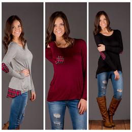 vintage blouse cotton 2019 - Women Vintage Plaid Patchwork Shirt Autumn Women Blouses Tops O Neck Long Sleeve Asymmetrical Hem Pullovers OOA4164 chea