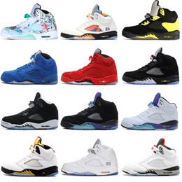 rubber eva latex 2019 - 2018 New 5 5s Wings International Flight Mens Basketball Shoes Red Blue Suede White Black Grape men sports sneakers desi