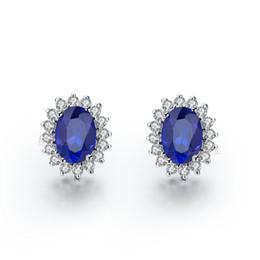 0648132389eb Increíble y brillante Excelente forma oval 3 ct   par aretes de diamante  sintético pendientes azules de piedras preciosas semi plateadas plata  maciza oro ...