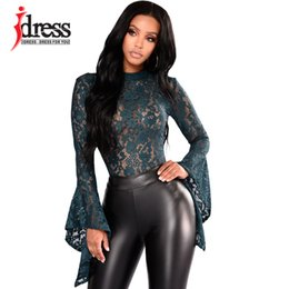 8a02192b1615 IDress Women Lace Bodysuit Sexy Cut Out Jumpsuit Womens Long Sleeve Romper  Leotard Bodysuits High Neck Hollow Out Body Suit S1012
