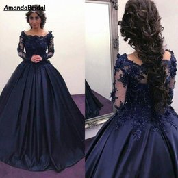 $enCountryForm.capitalKeyWord NZ - Amandabridal Navy Blue Long Sleeve Prom Quinceanera Dresses 2019 Bateau Lace Satin Masquerade Ball Gown African Evening Formal Party Dress