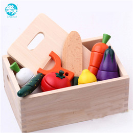 kids wooden toy kitchen UK - Wooden Kitchen Toys Cutting Fruit Vegetable Play Food Kids Wooden Toy fruit and vegetables food toy