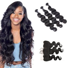 Discount silk frontal hair - Body Wave Silk Frontal with 3pcs Hair Bundles Indian Peruvian Human Virgin Hair 13x4 Frontal G-EASY