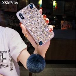 fox bling iphone case UK - Luxury Fashion Bling Crystal Diamond Case Cover With Fox Fur Ball Pendant For Huawei Honor 10 7X lite V8 V9 V10 P10 P20 Mate10