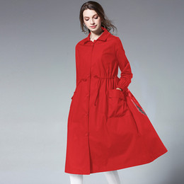 Wholesale trench red women resale online - Extra Long Women Trench Black Adjustable Drawstring Waist Coat Red Autumn Casual Loose Midi Windbreaker Female Top LY