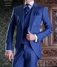 Morning suit sliM fit online shopping - Morning Style Royal Blue Piece Suit Men Wedding Tuxedos Peak Lapel Slim Fit Groom Tuxedos Men Dinner Prom Blazer Jacket Pants Tie Vest