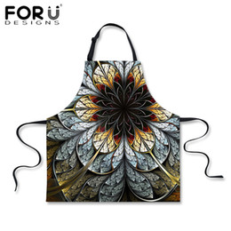 $enCountryForm.capitalKeyWord NZ - FORUDESIGNS Brand Designer Kitchen Aprons for Woman Flower Painting Print Men Chef Grembiule Oil Protection Aprons for Cooking