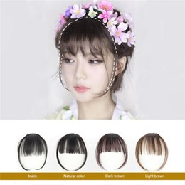 air bangs 2019 - Girl Hair Air Fringe Bang with Hairs on the Temple Front Neat Bangs Girl Hair Extensions Piece