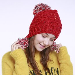 1ee0f03ffc9 Autumn Winter New Pure Hand Cap Knitted Wool Caps Ear Protect Woman Hat  Jacquard 3 Ball Warm Hats Beanie 15gf gg