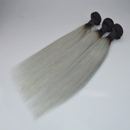 Discount 1b grey hair weave - Brazilian Ombre Hair Extension Two Tone 1B Grey Body Wave Human Hair 3 Bundles Wholesale Colored Brazilian Straight Grey