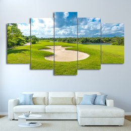 $enCountryForm.capitalKeyWord Australia - Canvas Wall Art Pictures HD Print Frame 5 Pieces Golf Course Painting Blue Sky Green Lawn Posters Modern Living Room Decoration