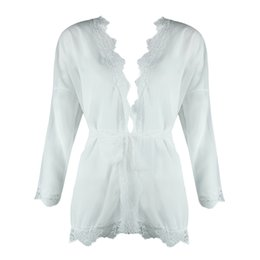 1f92789812edd Sexy Women Sheer Mesh Summer Top Patchwork Lace Trim Waist Belt Holiday  Beach Wear Solid Sunproof Kimono Cardigan Blouse White