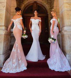 light purple wedding reception dresses 2019 - 2018 Mermaid Bridesmaid Dresses Elegant Off Shoulder Lace Appliques Maid Of Honor Dresses Formal Party Gowns Wedding Rec