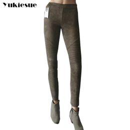 Wholesale women working pants for sale – dress Sexy leather suede pants women office work wear autumn skinny slim pleated PU pencil pants pantalon femme mujer