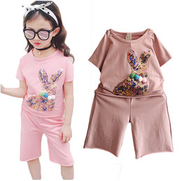 Cute loose girl shirts online shopping - New Kids Girls Summer Suits New Short Sleeve T Shirt Pants Loose Shorts Casual Set Cute Sequin Rabbit Hairball Fashion Kick
