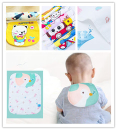 gauze towels NZ - Soft Cotton Baby Wicking Washable Absorb Sweat Gauze Back Towel Perspiration Wipes Reusable Random Cartoon Print Kids Baby Towel 24 * 32 CM