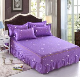 blue moon beds 2019 - Purple Star Moon twin full queen size 1pcs Bed skirt, with elastic bandage Bedspreads bedding maress cover Home Textiles