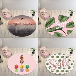 Wholesale Green Plant Round Rug Carpets for Living Room Anti Slip Rug Flamingo Carpet Garden Kids Mat Computer Chair Swivel Chair Cushion