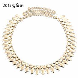 $enCountryForm.capitalKeyWord Australia - Handmade Silver&Golden Metal Leaves Ladies Waist Chain Belts For Women Belly Dance Charm Belts Party Dresses Ceinture F068 S18101807