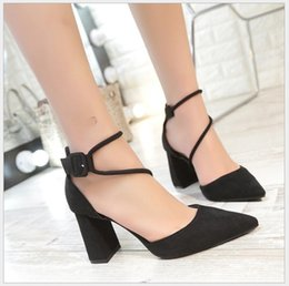 American Suede Shoes NZ - 2017 new European and American rough with suede shallow mouth buckle single shoes ladies high heels sandals