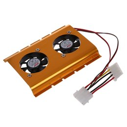 Wholesale 3 quot Hard Disk Drive HDD Dual Fan Cooling Cooler Gold Tone for Desktop PC